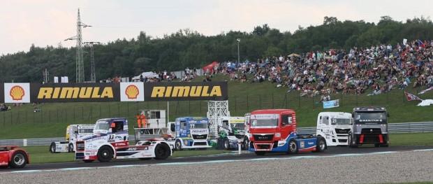Trucks navigating a corner on the Autodrom Most Circuit