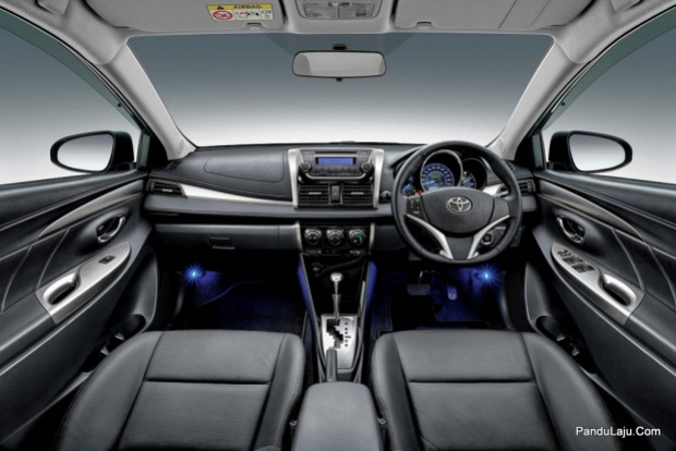 Vios 1.5G with black interior and blue front foot illumination