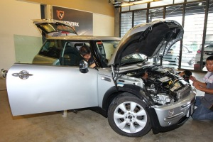 Faudzina Khamis's 12-year-old MINI getting some tender loving care