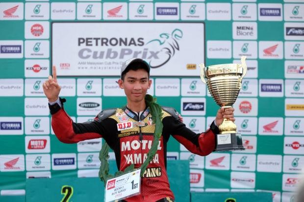 Tengku Amirul after winning the race in Batu Kawan