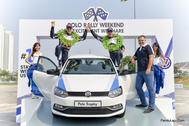 Volkswagen WRC drivers Jari-Matti Latvala, Miikka Anttila and Mr Armin Keller, Managing Director of Volkswagen Group Malaysia